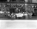 *John Calvert (1911-2013), magician and actor, with fans outside Empire Theater, where he...